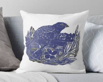 Nesting Bird Blue, Lino Cut Art Cushion