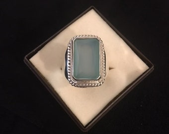 Blue Chalcedony and Fine Silver Ring