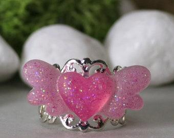 Winged Heart Glitter Ring