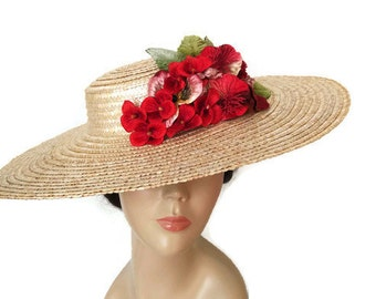 Straw sun hat with red flowers, straw boater hat,kentucky derby hat, red flower hat, flower races hat red, floral church hats, wide brim hat