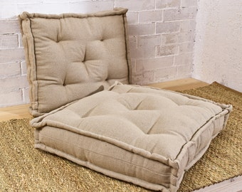 """Tufted Wool-Filled Cushion / Floor Cushion / Chair Cushion / 20"""" x 20"""" x 4"""" / Made to Order / Any Size & Shape on request"""