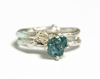 Uncut Blue Diamond Wedding Ring, April Birthstone, Rough Diamond Twig Ring, Bridal Set, custom size