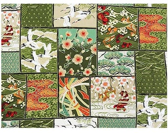 Patchwork of Asian Designs: Green/Gold Metallic Asian Japanese Fabric - By the Half Yard