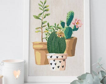cactus decor, cactus print, succulent print, cactus watercolor, succulent wall art, botanical print,