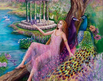 A Serene Moment fantasy art 27x39 20x27 13x20 canvas giclee. Print by VardaFreierLevyArt