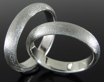 Half Round Sterling Silver Band Ring Set, Silver Wedding Band Set, Silver Wedding Ring Set, 4 x 2 mm, Heavily Brushed Finish