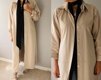 Vintage Spring Coat/Trench Coat/  Long Spring Coat/ Beige coat/ Khaki Coat/Oversized Coat/ Women Coat