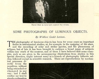 Photographs of Luminous Objects: Historic Illustrated Article, Late 19th Century, 16 Illustrations