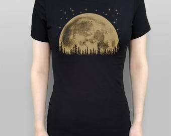 Moon Tshirt Moon T-Shirt Skyline T-shirt Moon Shirt Womens Top Black Shirt Screen Printed Vintage Tee Moon TShirt Trees T shirt Moon Tee