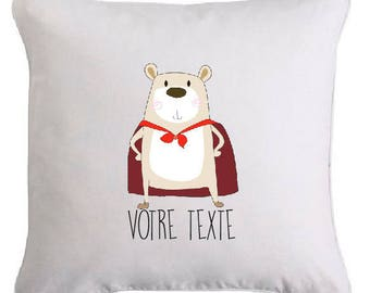 """""""Super bear"""" pillow personalized with text of your choice"""