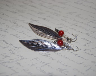 Silver Metal Leaf with Red Coral Earrings