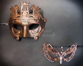 Rose Gold Couples Masquerade Masks, His & Hers Masquerade Masks - Roman Mask and Laser Cut Masquerade Mask with Diamonds