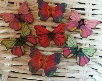 set of 7 butterflies xxxxxx wooden buttons