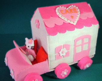 Felt Cake Truck House,shelf,table,Cake--PDF Pattern and instructions--T08