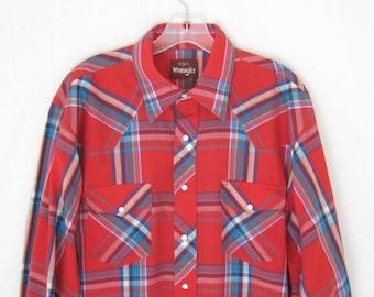 Vintage Wrangler Plaid Western Shirt. Size Large