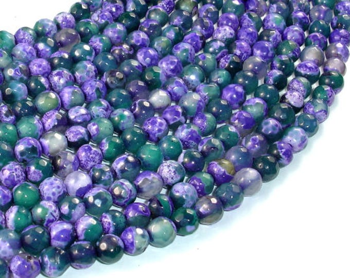 Agate Beads, Purple & Green, 6mm Faceted Round Beads, 14.5 Inch, Full strand, Approx 62 beads, Hole 1mm (122025302)