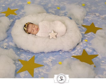 Newborn Digital Backdrop - Blue Sky, Clouds with Gold/White Stars Background Composite