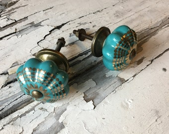 Decorative Turquoise Ceramic Knobs, Drawer Pulls, Furniture Cabinets Knob Item #451692470