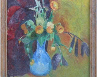 vintage abstract still life painting blue vase with flowers