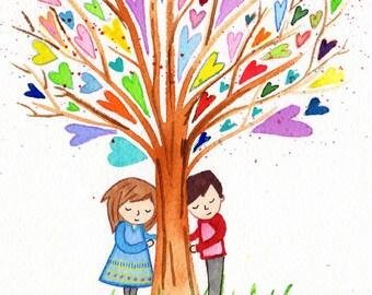 original art watercolor In Love Lauren Ingraham painting