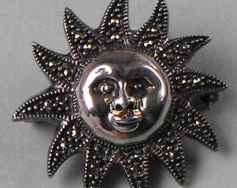 Marcasite and Silver SUN Brooch