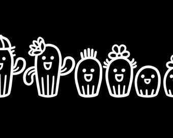 Cactus Family Car Sticker, Car Sticker, Customized Family Car Decal, Family Car Decal, Family Sticker, Stick Figure Family Decals
