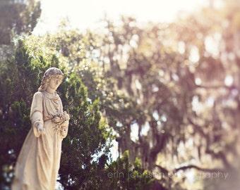 savannah georgia cemetery photography, bonaventure,  angel statue, living room art, large wall art, travel photography - Angel No 2