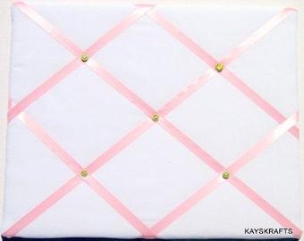 White And Pink Memory Board French Memo Board, Fabric Photo Board, Fabric Ribbon Memo Bulletin Board, Ribbon Pin Board,  New Baby Gift