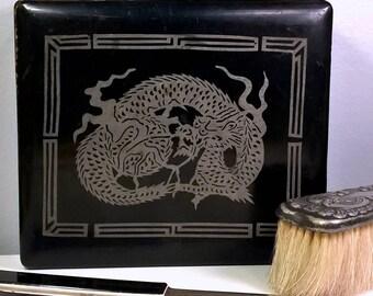 Silver Dragon Black Lacquer Antique Asian Box Black Lacquer Ornate Jewelry Trinket Box Home Shelf Decor Accessories Collectible Dresser Box
