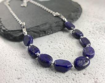 Lapis Lazuli Necklace, Royal Blue necklace, lapis lazuli gift, gemstone necklace, new