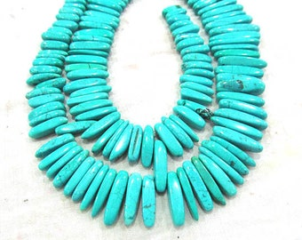 20-30mm Natural Turquoise Gemstone Top Drilled Spikes Sharp teeth blue Loose Beads Necklace 17inch