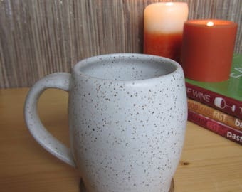 Handmade pottery mug, rustic farmhouse white coffee cup, speckled white mug, ceramic coffee mugs