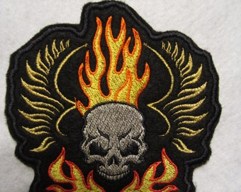 Embroidered Skull And Flames Iron On patch, Iron On Applique, Skull Patch, Skeleton Patch