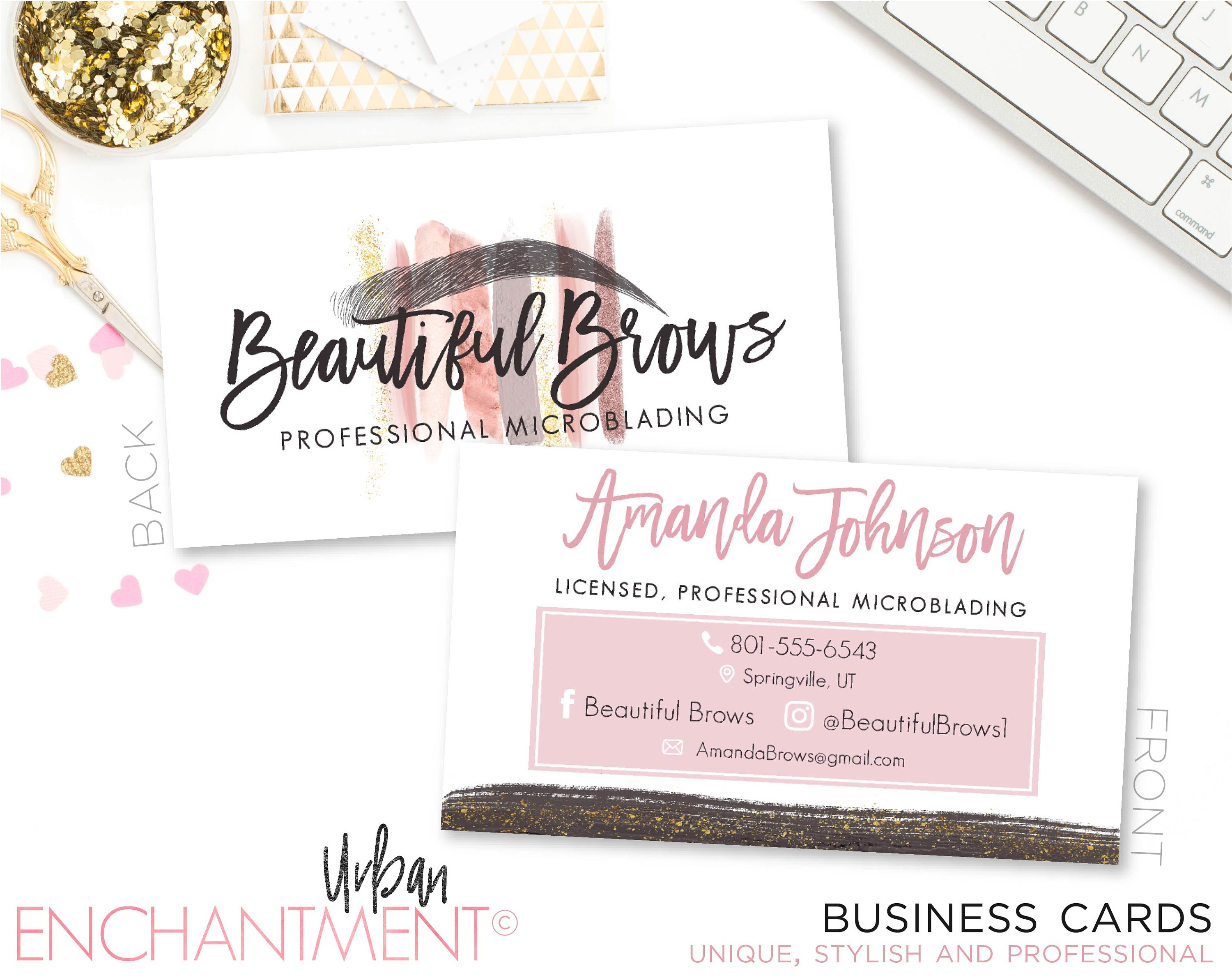 Microblading Business Card. MAKEUP STROKES. Cosmetologist