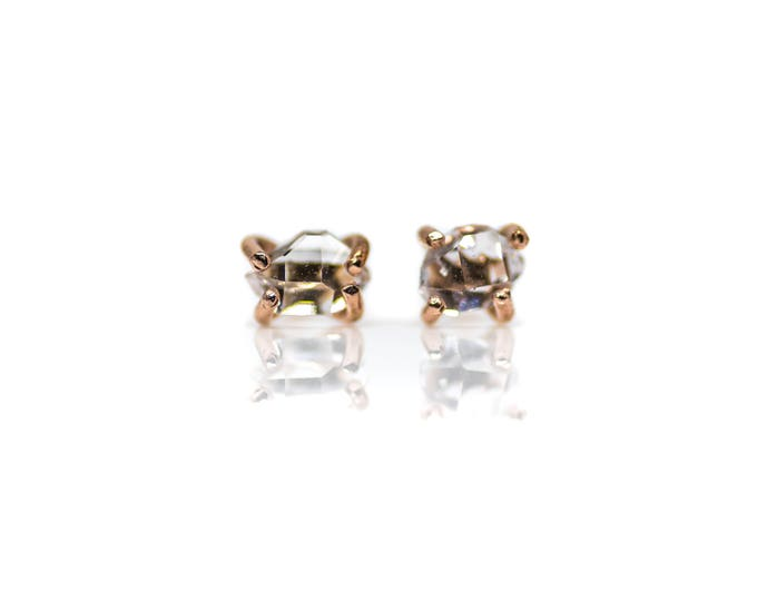 Rose Gold Herkimer Diamond Studs