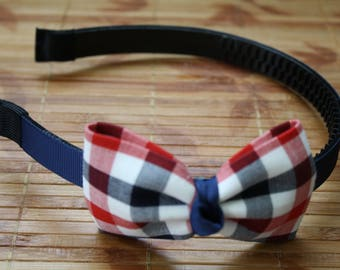 Red white and blue checkered headband
