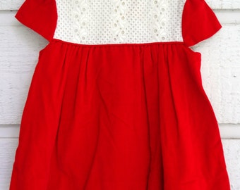Vintage Red Velvet and White Dress  by C.I. Castro - Size 4t - New, never worn