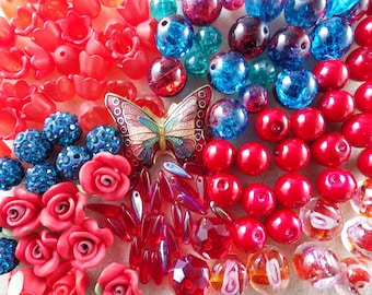 Red & Blue Beads Mix, Butterfly Inspiration Pack 122pcs, Crackle Beads, Polymer Clay Flowers, Lampwork Beads, Jewellery Making Supplies UK