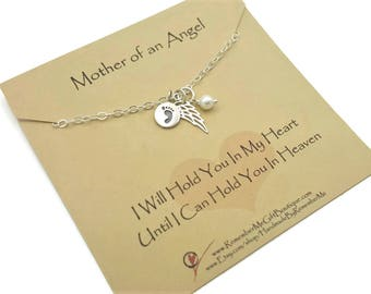 Baby Loss Gift, In Loving Memory, Infant Loss, Miscarriage, Mother of an Angel, Angel Wing, Footprints, Pearl in Sterling Silver, Sympathy