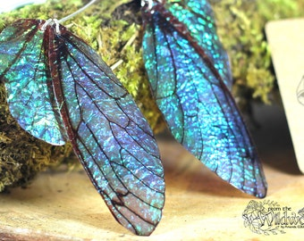NEW Large midnight blue fairy wing earrings, iridescent faerie wings on handmade sterling silver ear wires. Magical boho faery fae jewellery