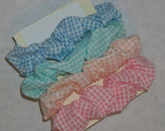 Gingham Plaid Hair Scrunchies - Size Large, Size Small, Girls, Ladies, Women, Hair Accessories, Rubber Bands, Hair, Pony Tails