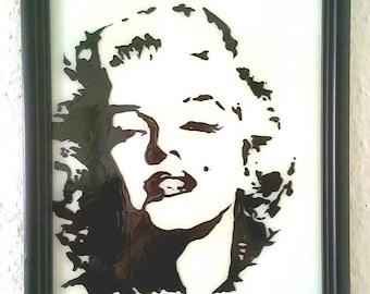 Black Marilyn Monroe portrait, glass painting,.