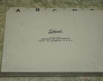vintage industrial  Smead  index cards  Filing Guides  Alphabetic Indexing cards vintage  Smead 4x6 Inch Index Cards Alphabetical