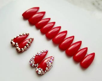 Red Press on nails with an extra 2 pairs of accent nails with Swarovski crystals - Any shape - Reusable - Coffin Stiletto Almond Oval Round