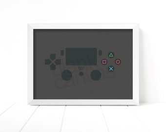 Game Pad Controller - Playstation 4 - Wall Art, Poster, Printable - Instant Digital Download