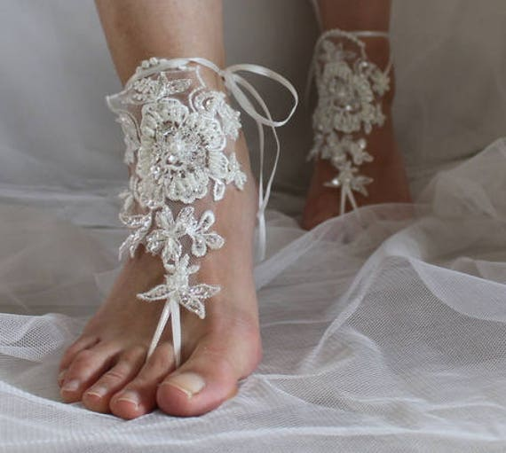 ivory foot 15A lace wedding shoes barefoot shoes accessories wedding sandals sandals jewelry Beaded prom N summer dress yOqpyUfSwT