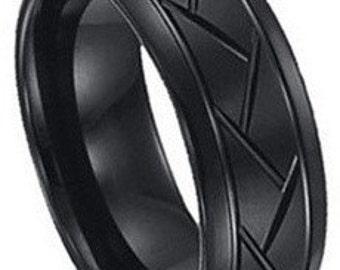 Tire Ring Pattern Black Tungsten  FREE SHIPPING