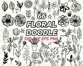 floral doodle svg,eps,dxf,eps,png,vector,hand drawn, leaves,flowers,cut files,cricut,silhouette,flower,leaves,garden