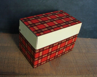 Ohio Art Co Metal Recipe Box File Red and Yellow Tartan Plaid with Index Cards