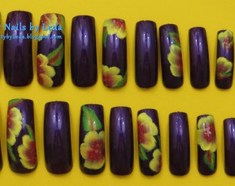 20 Full Well Long Square Purple nails w/ Alternating Yellow & Red flowers